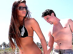 Gorgeous Brunette Babe Gets Naked Outdoors and then Fucked