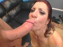 Brunette Momma Drinks Cum From A Hard Dick