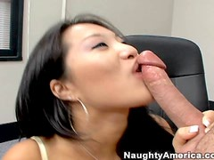 Sexy Asian Babe Gives Blowjob to Coworker in the Office
