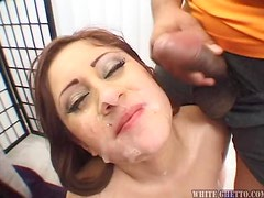 Famous Angel sucks many dicks and gets her chin covered with cum