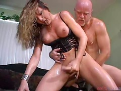 Slutty tranny Danielle Foxxx gets her ass fucked remarcably well