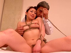 Yu Kawakami the tied girl gets fucked in her mouth and pussy