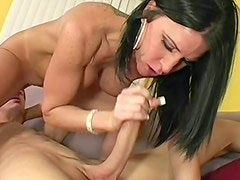 Milf in blouse is aggressive seductress