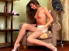 Sheer pantyhose for her hot young body