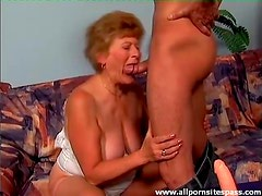 Old cocksucker with big boobs rides him