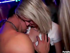 Girl kissing and hardcore sex at the club