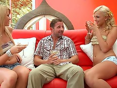 Cute blondes share drinks and his dick