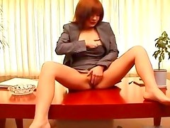 Asian redhead fingering her pussy porn