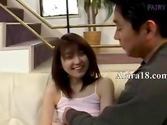 Hairy korean cunt and couch fingering