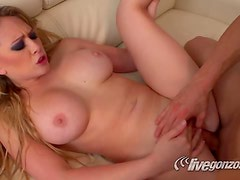 Big Boobes Blonde Skank Gets A Meaty Member