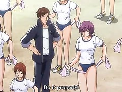 Hentai video with horny schoolgirls getting fucked by mad teacher