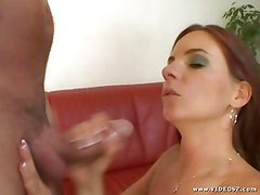 Raunchy Evelyn Foxy gets saturated with warm dick juice