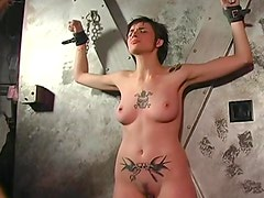 Tattooed girl loves pain in BDSM video