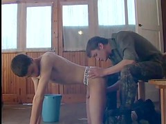 Cumshot on the rimmed ass of a twink cutie