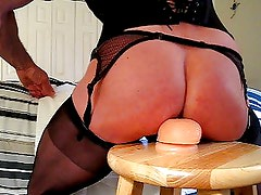 Bubble-Butt Sissy Rides Big Thick Doldo