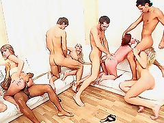 Four Couples In a Wild and Crazy Group Sex Orgy