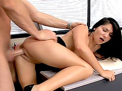 Smoking Hot Brunette Slut Gets Fucked in the Office