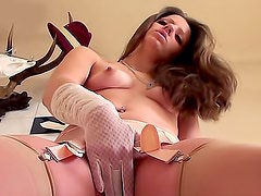 Elegant gloves and lingerie on fingering girl