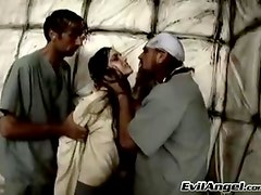 Two guys nurses experiencing sex with their hawt nympho patient
