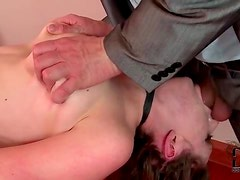 Tied and collared girl face fucked