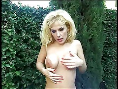 Sexy blonde with nice naturals blows hard & swallows