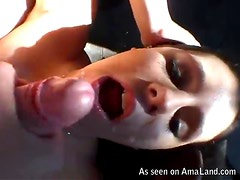 Hot brunette big cock blowjob right here and hot!