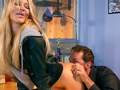 Babe Jessica Drake fucked over a desk