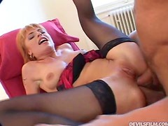 Double Anal Banging for Randy Slut Alysson Moore in Threesome