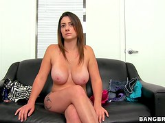 Horny Brunette Gets a Facial and a New Job