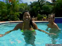 Outdoor Threesome By The Pool With Two Hot Latinas