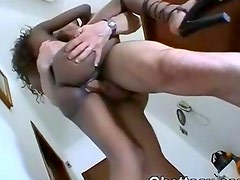 Big Furious White Cock In Ghetto Pussy And Butt Hole
