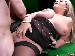 Sexy lingerie on a BBW banging hardcore
