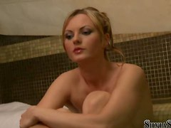 Two horny blonde lesbians having wild sex in the spa