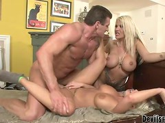 Britney Amber and Michelle Mclaren sucking and riding big dick