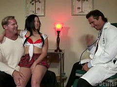 Tricky man fucks his sexy stepdaughter with a doctor