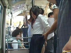 Crazy DP Gangbang in Public Bus for Japanese School Girl