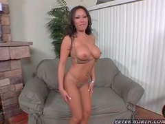 Desirable hottie Jasmine gets that steaming cock in her mouth