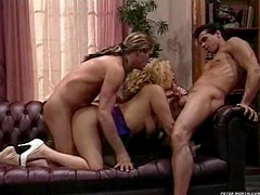 Busty blond milf gets banged by two hard cocks