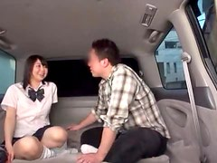 Japanese girl gets fucked in various positions in a car
