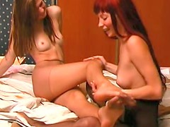Pantyhose play video stars two hotties