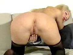 Blonde blows your mind in black pantyhose