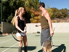 Naughty tennis babe plays the game