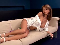Horny Saki has fun with two cocks and a vibrator