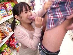 Lovely Japanese babe Nana Nanaumi gives a blowjob in the grocery store