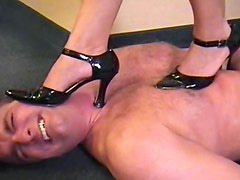 Man trampled by milf in high heels