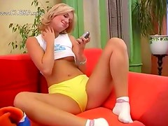 Czech fairhair princess fucking a dildo