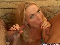 Ava Vincent milks two cocks completely dry on her beautiful face