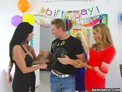 Best Birthday Ever With Busty Whores Sharing Cock