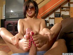 Naughty Teen Latina Gives Lucky Dude An Intense Footjob