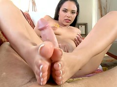 Footjob Action With The Sexy Teen Latina Angelina